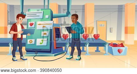 Mobile App Development, Love Or Like Manufacturing Process, Developers, Smartphone And Conveyor Belt