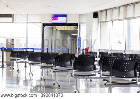 Palmira, Colombia - October, 2020: Empty Waiting Room At Cali Airport In Colombia During Covid-19 Pa