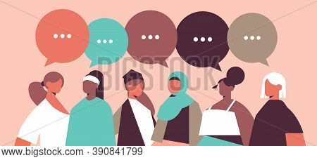 Mix Race Girls With Speech Bubbles Discussing During Meeting Communication Womens Power Union Of Fem