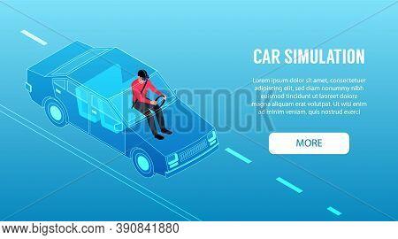 Virtual Reality Isometric Horizontal Banner With Man Using Car Driving Simulator 3d Vector Illustrat