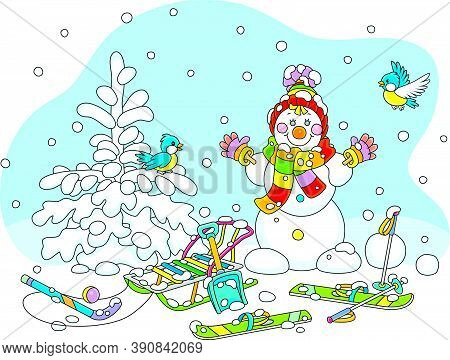 Cheerful Small Birds Flying Around A Smiling Cute Toy Snowman With A Warm Colorful Scarf And A Hat,
