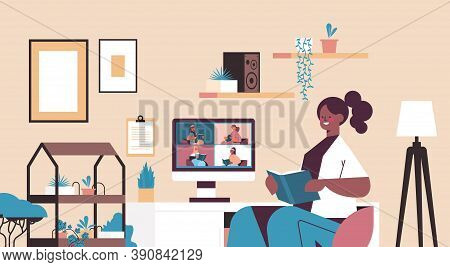 Mix Race Women On Monitor Screen Reading Books With Woman During Video Call Book Club Self Isolation