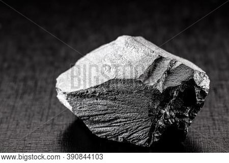 Iron Ore Stones, On Isolated Black Background, Used In Industry, Chinese Iron Ore For Export And Imp