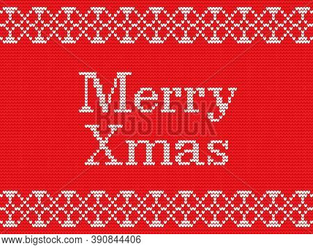 Merry Christmas. Fairisle Design Knitting Pattern. Scandinavian Style Greeting Card. Christmas Greet