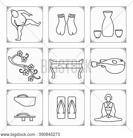 Symbols Of Japanese Culture. Asian Woman In Kimono, Sumo Athlete, Sake Set, Tabi Socks, Sakura, Tabl