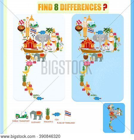 Find The Difference On The Map Of Thailand. National Symbols Of Thailand And Traditional Temples. Ch