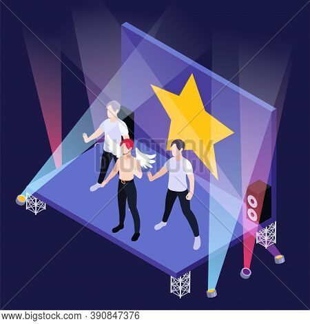 K Pop Boy Group On Stage With Spotlights And Gold Star Isometric Background 3d Vector Illustration