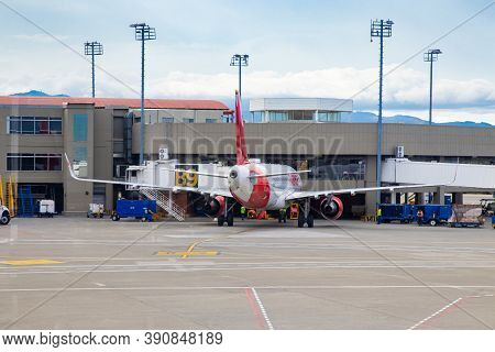 Palmira, Colombia - October, 2020:  Plane Of The Avianca Airline At Its Parking Spot In The Alfonso