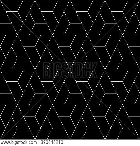 Mosaic Pattern. Jagged Figures Ornament. Repeated Puzzle Shapes Background. Logic Game Motif. Tiles