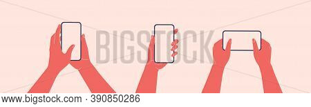Human Hands Hold Horizontally Mobile Phone With Blank Screen. Females Arm Is Touching Smartphone Dis