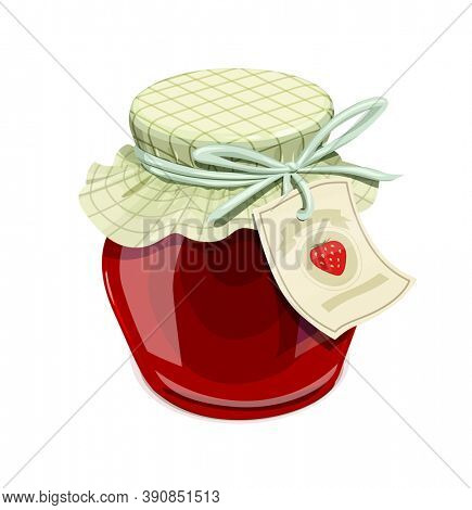 Strawberry jam jar. Vintage style. Delicious organic food. Glass capacity for berry meal with lid, isolated white background. 3D illustration.