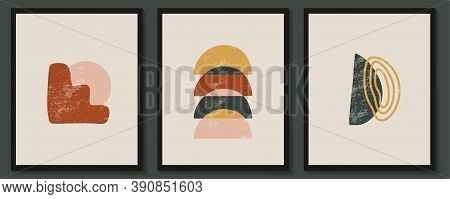 Abstract Contemporary Aesthetic Posters With Geometric Shapes Ans Textures. . Boho Wall Decor