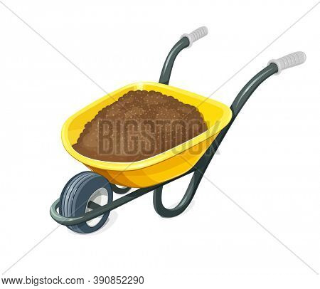 Wheelbarrow with ground. Gardening tools. Barrow with one wheel for transportation cargo. Agriculture and building work inventories. Isolated white background. 3D illustration.