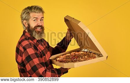 Fresh And Hot. In Mood For Italian Food. Man Bearded Hipster Hold Cardboard Pizza Box. Pizza Deliver