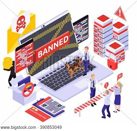 Cyber Security Spyware Data Protection Isometric Composition With Pictograms Images Of Servers Lapto