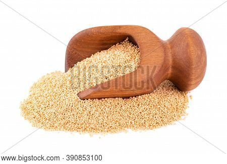Amaranth Seeds In Wooden Scoop, Isolated On White Background. Organic Dry Raw Amaranth Beans.