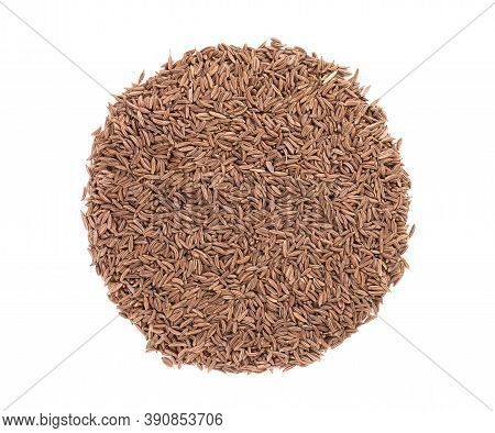 Cumin Seeds Isolated On White Background. Cumin Seeds Or Caraway. Top View.