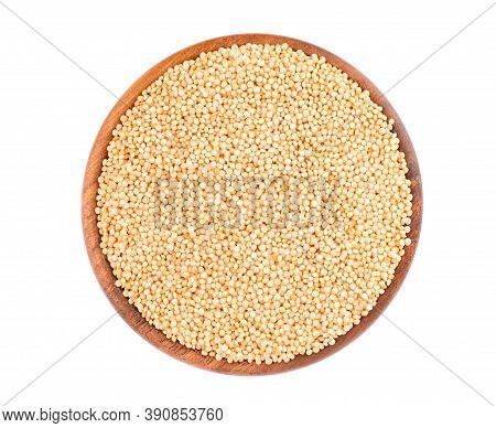 Amaranth Seeds In Wooden Bowl, Isolated On White Background. Organic Dry Raw Amaranth Beans. Top Vie