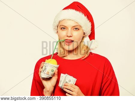 Rich Girl With Lemon And Money. Girl Santa Hat Drink Juice Lemon Wrapped Dollar Banknote. Woman Lemo