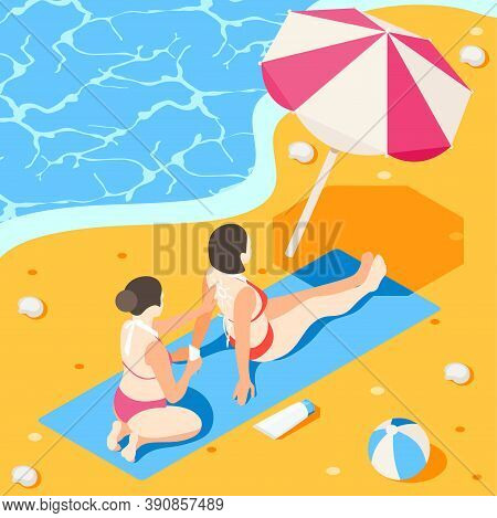 Sunscreen Isometric Background Composition With Female Characters Applying Sunburn Cream With Beach
