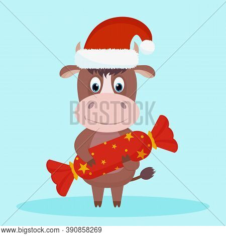 Cute And Happy New Year's Character, Bull 2021 In A New Year's Hat Of Santa Claus With New Year's Ca