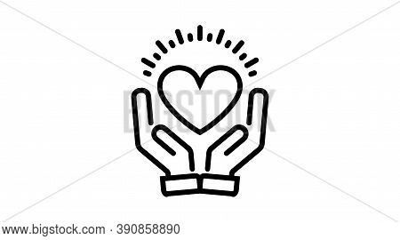 Charity Donation Care Hope Vector Line Icon. Hands With Heart. Friendship, Love, Assistance, Volunte