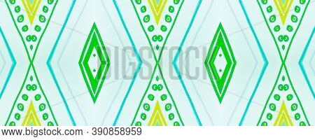 Seamless Tribal Ornament. Blue American Ethnic Wallpaper. Hand Drawn Aztec Texture. Geometric Tradit