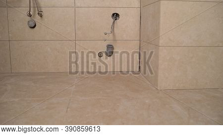 Bathroom Tiles. Fashionable Modern Bathroom Tiles. Installation Of Ceramic Tiles In New Buildings Wi