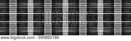 Black Buffalo Check. Watercolour Tartan Border. Retro Geometric Squares For Shirt Print. Seamless Bu