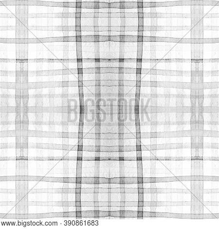 Picnic Shirt Prints. Watercolor Tartan Border. Color Traditional Squares For Twill Print. Seamless M