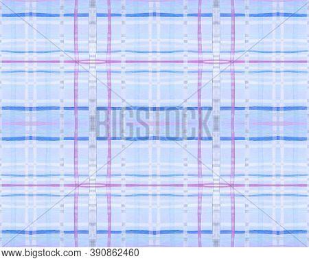 Purple Check Print. Watercolour Tartan Textile. Wool Traditional Stripes For Tweed Print. Seamless B