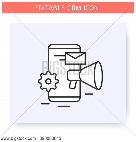 Marketing Automation Line Icon. Targeting, Content And Advertising Control Crm System. Automating Wo