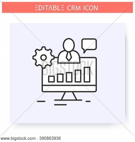 Operational Crm Line Icon. Collecting And Systematization Customer Data. Automating Workflow Process