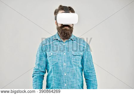 Future Is Closer Than You Think. Bearded Man Explore Vr Yellow Background. Vr Technology And Future.