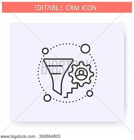 Lead Management Line Icon. Lead Generation, Input, Track And Analyze Crm Service. Automating Workflo
