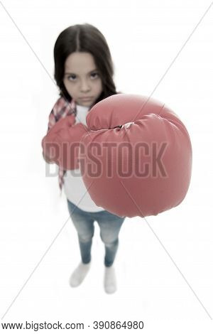 Feministic Upbringing. Every Girl Should Know How Defend Herself. Girl Seriously Training Boxing Glo