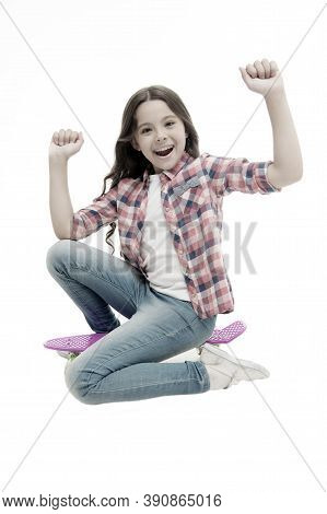 Time To Ride. Kid Girl Excited Sits Penny Board. Modern Teen Hobby. Girl Happy Face Sit On Penny Boa