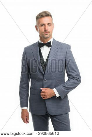 Tailored Suit. Menswear Concept. Guy Well Groomed Handsome Macho Wear Black Tuxedo. Groom Fashion Tr