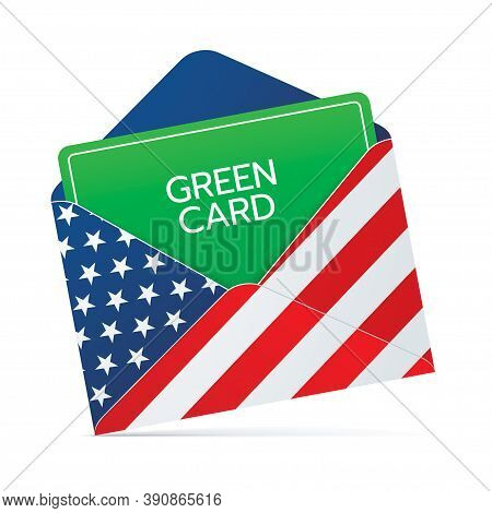 Permanent Residency Green Card Document In An Envelope With Usa Flag Print. United States Of America