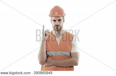 Focused On Result. Repairing And Renovating. Home Improvement. Man In Helmet Laborer On White Backgr