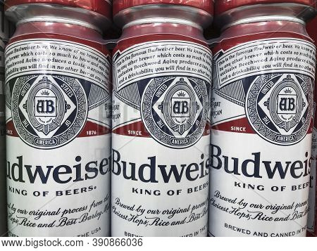 Indianapolis - Circa October 2020: Budweiser Beer Display. Budweiser Is Part Of Ab Inbev, The Larges