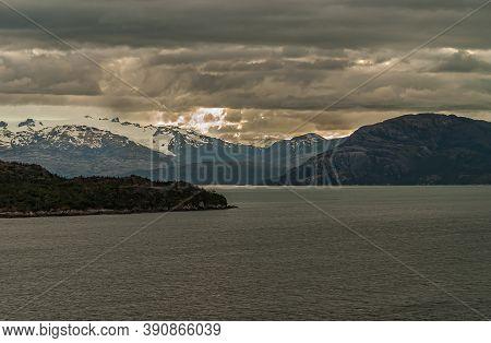 Sarmiento Channel, Chile - December 11, 2008: Amalia Glacier And Fjord. Ice Fields Of Glacier Under