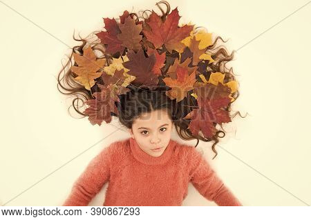 Organic Mask. Haircare Tips Add To Fall Routine. Little Girl Gorgeous Long Hair And Fallen Maple Lea