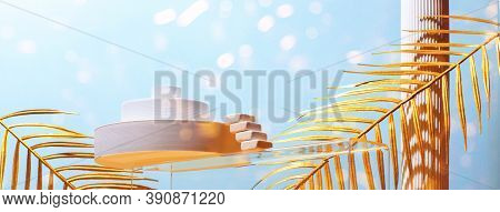 Monumental Composition With Catwalks, Stairs, Palm Leaves And Geometric Shapes In Blue And Gold Colo