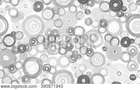 Gray Circles Texture. Grunge Polka Dots Background. Artistic Spots Elements. Monochrome Watercolor F