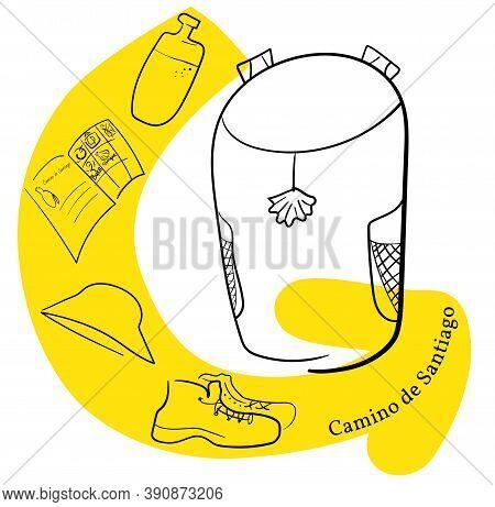 Pilgrim S Backpack And Yellow Arrow. Panama Hat, Backpack, Pilgrim Passport, Boots, Water. Translati