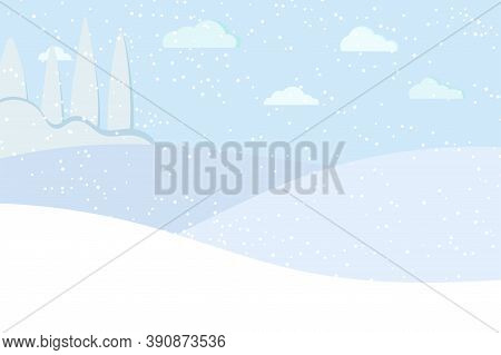 Winter Panaramic Landscape With Blue Trees, Fields, Sky, Clouds, Snow Vector Illustration In Flat Ca