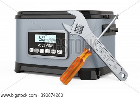 Repair And Service Of Sous Vide Machine, 3d Rendering Isolated On White Background