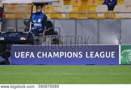 Kyiv, Ukraine - September 29, 2020: Uefa Champions League Banner On A Pitch Of Nsc Olimpiyskyi Stadi