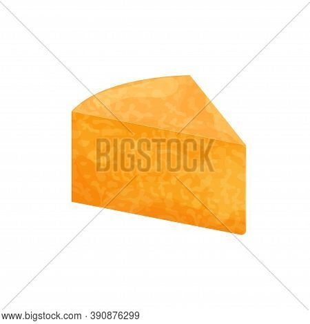 Piece Of Colbu Jack Cheese, Detailed Bright Isolated On White Background. Food, Gourmet In Flat Styl